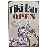"ErYao Indoor Outdoor Decor Funny Vintage Metal Sign Personality Tin Sign Poster Flag Plaque Bar Club Cafe Garage Wall Decor, 11.81""x7.87"" (Tiki Bar Open)"