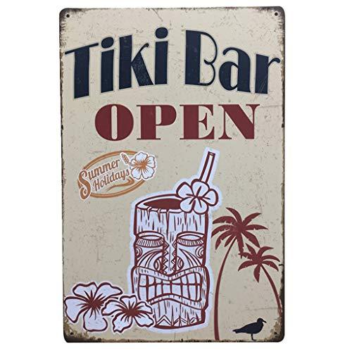 ErYao Indoor Outdoor Decor Funny Vintage Metal Sign Personality Tin Sign Poster Flag Plaque Bar Club Cafe Garage Wall Decor, 11.81'x7.87' (Tiki Bar Open)