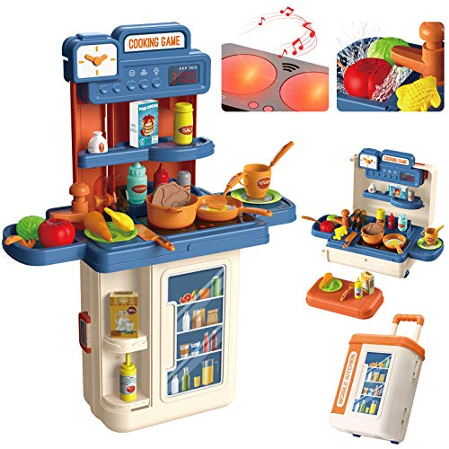 Kinderküche, 4 in 1 Trolley Koffer Spielküche inkl. Kochfeld mit Sound- und Licht, Wasserhahn mit Wasser-Pump-Funktion, Kinderküche zubehör mit Spüle,Töpfen, Pfannen, Gewürze, Messer, Eier, Gemüse