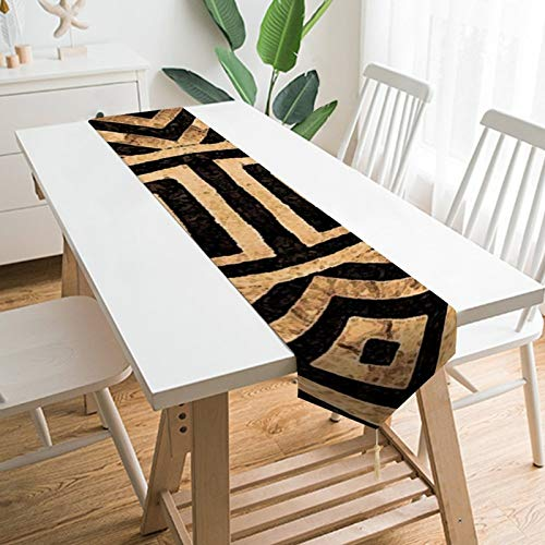 VinMea Decorative Table Runner Placemat Kuba Cloth Pattern Table Runner Table Decor for Holidays Party Event 13x90 inch