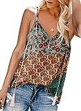 Eytino Women Casual V Neck Spaghetti Strap Shirt Summer Sleeveless Blouse Tank Tops,XX-Large Multicolor