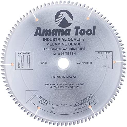 """lowest Amana Tool discount - MB12960 Carbide Tipped Double-Face Melamine 12"""" Dia x 96T H-ATB, outlet online sale -6 Deg outlet online sale"""
