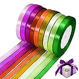 WELLXUNK Cinta de Raso, Colores Mezcla Rollo de Raso de Doble Cara Satén de Seda para Embalaje Decoración de Regalo Cajas Flores Boda Navidad (8 Colores-10mm*200m)