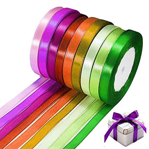 WELLXUNK 25Yd/STK * 10mm Satinband Dekoband, 8 Stück Geschenkband Schleifenband Ripsband Ringelband für Hochzeit Bänder Geschenkbänder Stoffband