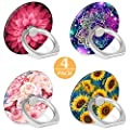 4-Pack Floral Pattern Phone Ring Holder 360 Degree Rotation Finger Ring Stand Holder Grip Kickstand Compatible with Smartphones and Tablets