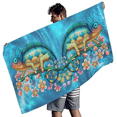 LAOAYI Ozean Meer Mikrofaser-Strandtuch Schnelltrocknend Strandtuchdecke lebendige Farben Muster Kreis Picknick Teppich Yogamatte für Reisen White 150x75 cm