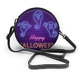 Feliz fiesta de Halloween brillante letrero imagen vectorial de las mujeres mano redonda Crossbody Sra. hombro Menger bolsa personalizada Tote