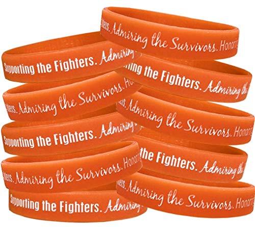 Supporting, Admiring, Honoring Wristband Bracelet for Leukemia Multiple Sclerosis MS Kidney Cancer - Orange (10 Pack)