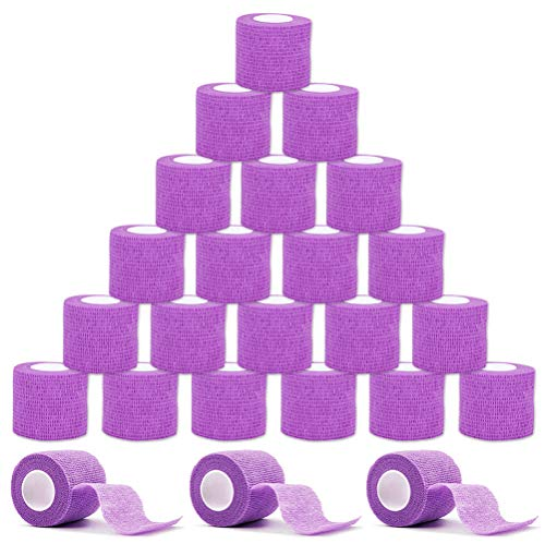 VideoPUP Tattoo Grip Cover Wrap,24PCS Disposable Cohesive Tattoo Grip Cover Elastic Bandage Handle Grip Tube for Tattoo Machine Tattoo Grip Accessories(Purple)
