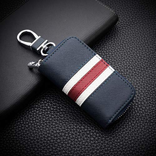 Bolsa de couro listrada com zíper para chave de carro, capa de controle remoto personalizada universal para homens e mulheres (Azul)