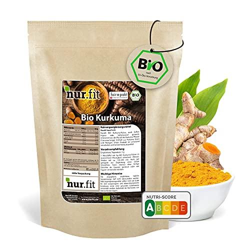 nur.fit by Nurafit Curcuma in polvere 500g - Polvere dalla radice di curcuma biologica con curcumina concentrata al 4,3{e9516ff720d3e66fe09f22fd48f89b0d877f95f9fc7bfe0e1af61405f3d265e2} - Curcuma bio in polvere, cibo crudo di qualità per frullati, bowl e caffè