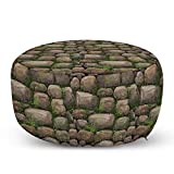 Ambesonne Nature Ottoman Pouf, Stones Covered with Moss Rock Formation Forest Peaceful Meditation Theme, Decorative Soft Foot Rest with Removable Cover Living Room and Bedroom, Dark Taupe Fern Green