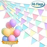 [page_title]-Dusor Wimpelkette Outdoor, 10M 46Pcs Wimpel Girlande + 18Pcs Bunte Luftballons, Macarons Mehrfarbig Banner, Dreieck Flaggen Dekoration für Geburtstag, Hochzeit, Kinderzimmer, Weihnachten, Party