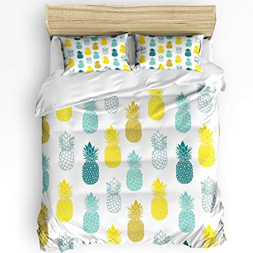 Breathable 3pcs Bedding Set Duvet Cover Sets,California King Size Soft Comforter Sets with Zipper Closure&Corner Ties for Adult Kids,Colorful Pineapple Cute Fruits 1 Quilt Cover,2 Pillow Shams Set