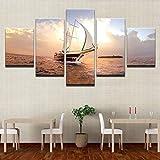 ganlanshu Pintura sin Marco 5 Paneles Sunrise Sailing Seascape Frame Modular HD Impreso Lienzo Arte Pintura Cartel decoración ZGQ5405 20x35cmx2, 20x45cmx2, 20x55cmx1