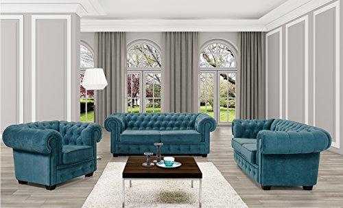 BMF Chesterfield 3-Sitzer-Sofa / 2-Sitzer-Sofa/Sessel, aus Kunstleder oder Stoff, in verschiedenen Farben erhältlich