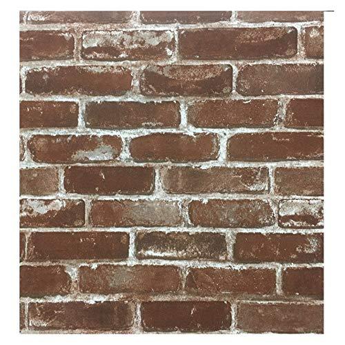 WHYBH HYCSP Rustikale Weinlese Faux Brick Tapete Rolle Vinyl-PVC-Retro Industrie Loft-Wand-Papier Rot Schwarz Grau Gelb Waschbar (Color : WP54704, Size : 10mx53cm)
