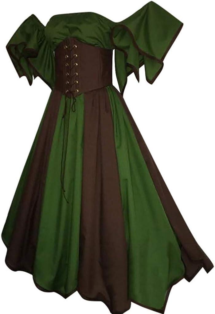 Vintage Short Petal Sleeve Dress Women Slash-Neck Medieval Cosplay Dress