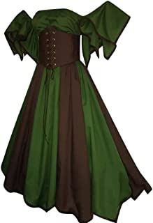 7990c2d3d baskuwish Womens Medieval Dress Renaissance Costumes Short Petal Sleeve  Slash-Neck Medieval Dress Cosplay Dress
