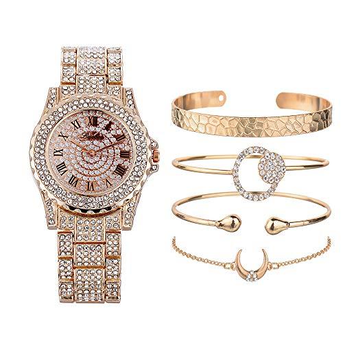 Frauen Uhr und Armbänder Iced-Out Strass Simuliert Voller Diamanten Römische Ziffer Zifferblatt Edelstahlband Armreif Armbanduhr Set