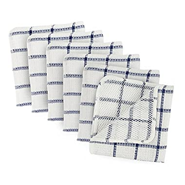 DII Microfiber Scratch Free Scrubber Cleaning Dishcloth with Poly Mesh Scour Side, Wash Cloth Perfect for Kitchens, Dishes, Car, Dusting, Drying Rags, 12x12, Set of 6 - Nautical Blue Windowpane