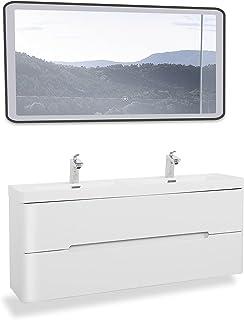 Ensemble de meubles de salle de bains GOOM,lavabo avec meuble bas,miroir LED et meuble latéral en option. Lavabo avec meub...