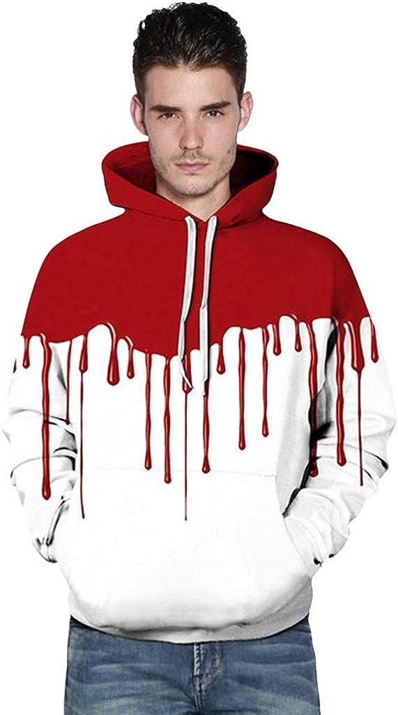 Couple Hoodies, Misaky Halloween Casual 3D Blood Letter Print Long Sleeve Hood Hoodie Pulley Sweatshirt