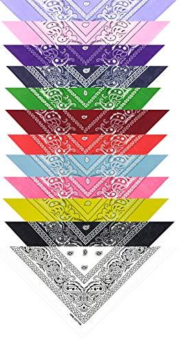 mygoodstyle Bandana Halstuch Nikki Tuch Kopftuch Motorradtuch Baumwolle einfarbig Set gemischt 12 Stück
