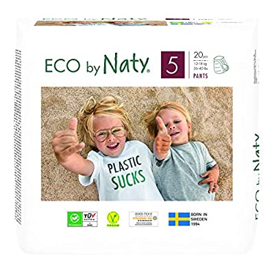 Eco by Naty Pull-Ups Training Pants, Size 5 (3T-4T), 80 Count, 26-40 lbs, One Month Supply, Plant-Based Premium Ecological Pull-Ups with No Nasty Chemicals