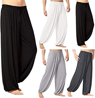 Therecoe86 Women Clothes Pants Trousers,Men's Casual Solid Color Baggy Trousers Belly Dance Yoga Harem Pants Slacks - White XL
