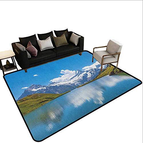 MsShe Tapijt liner voor tapijt Landschap, Dock on the Lake met Kleine Schuur Alpine Bergen Duitsland Europese Natuur foto, Multi kleuren