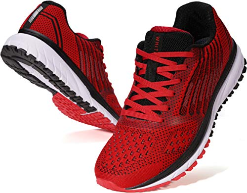 Joomra Mens Running Gym Tennis Shoes for Man Fitness Red Size 8.5 Walking Jogger Walk Cushion Jogging Casual Lightweight Fashion Runner Male Knit Sports Sneakers 42