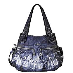 0d40230989  1) Angelkiss Women s Purse and handbags Top Handle Satchel Handbag  Crocodile Shoulder Bag Purse