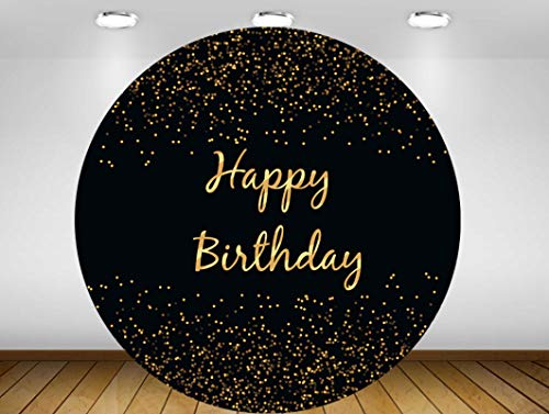GSDJU happy birthday banner,bunting,decoration,party,wreath,reusable,Round circle background dots white black Backdrop birthday Party event decor table cover fabric vinyl