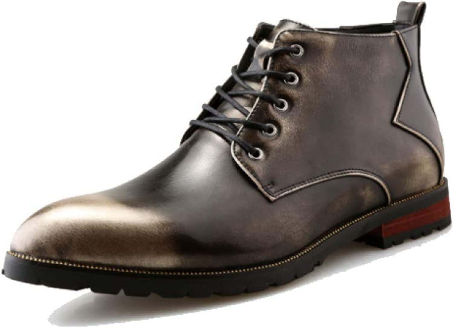 XINGF Men's High-top Casual Business shoes, British Retro Boots, Fashion Youth Wedding shoes