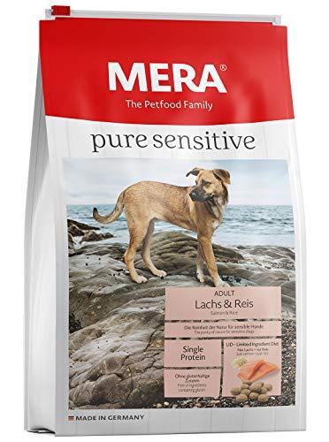 Unbekannt Mera Pure Sensitive Nourriture pour Chien Adulte Saumon et Riz Croquettes pour l'alimentation Quotidienne des Chiens Difficiles