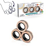 Magnetic Rings Pop Fidget Toy Set, Idea ADHD Fidget Toys, Adult Fidget Magnets Spinner Rings for Anxiety Relief Therapy, Fidget Pack for Adults Teens Kids (3PCS)