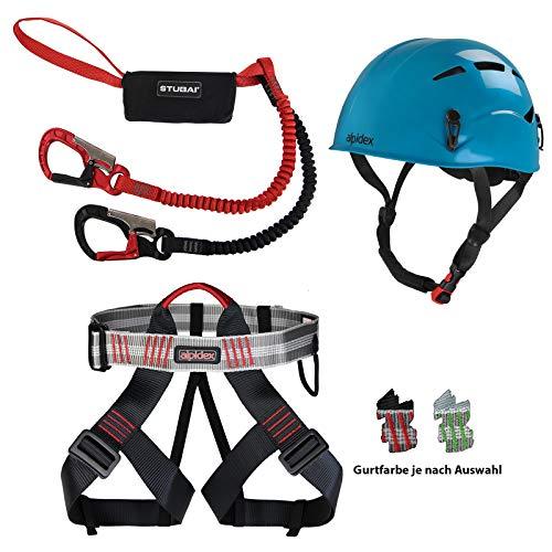 Diverse ALPIDEX Kletterhelm + Alpidex Klettergurt + Stubai Klettersteigset Basic 3.0 - Helm: Turquoise Blue, Gurt: Green