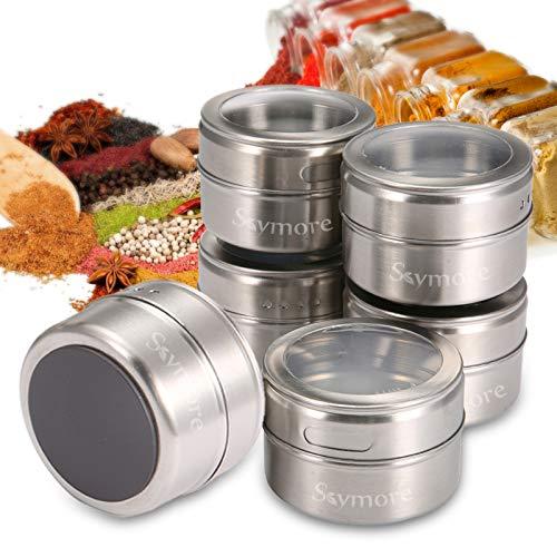 Skymore 12 Stück Magnetische Gewürzgläser Set, Edelstahl Gewürzdosen, Würze Lagerung Tank Set für Spice Kräuter Gewürze Herb