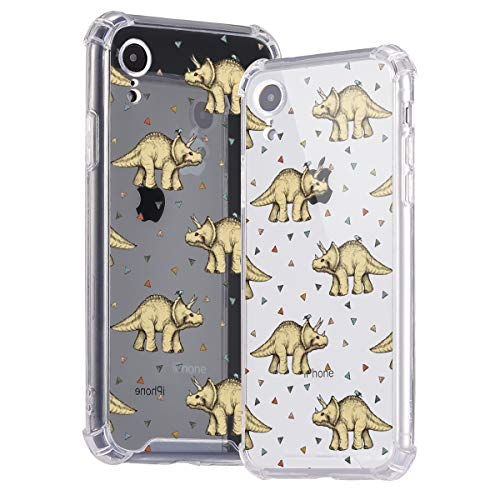 Idocolors Handyhülle für iPhone 6 / 6s Triceratops Hülle Transparent Durchsitig Stoßfest [ Eckenschutz + Weiches TPU ] Dünn Slim Case Cover Bumper Schtzhülle