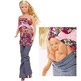 #11 Schwangere Puppe mit Baby und Zubehör Steffi Love Schwanger Anziehpuppe Ankleide Kleider