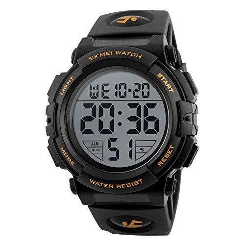 Men's Digital Sport Watch Waterproof Led Electronic Military Wrist Watch with Alarm Stopwatch Calendar Date Window (Gold)