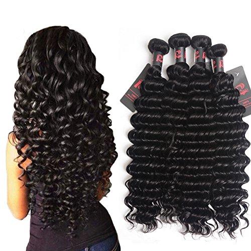 Best 8A Virgin Brazilian Hair Deep Wave 4 Bundles Mixed Length 16 18 20 22 inch Unprocessed Brazilian Curly Virgin Hair Remy Hair Weave Human Hair Extensions 400g