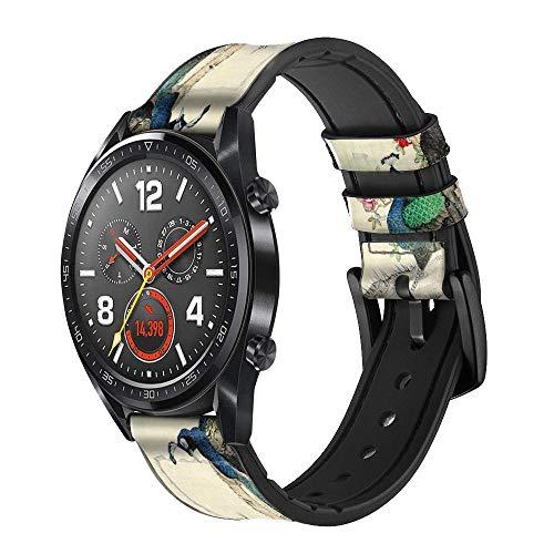 Innovedesire Peacock Painting Correa de Reloj Inteligente de Cuero para Wristwatch Smartwatch Smart Watch Tamaño (18mm)
