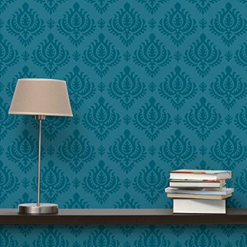 Apalis Vliestapete Petrol Barock Mustertapete Breit   Vlies Tapete Wandtapete Wandbild Foto 3D Fototapete für Schlafzimmer Wohnzimmer Küche   blau, 98207