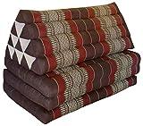 Wifash Colchón Thai 3 Pliegues XXL, con cojín triángulo, Ocio, colchón, Kapok, Playa, Piscina, Fabricado en thailande, Marrón/Burdeos (82518)