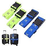FORMIZON Correas de Equipaje, 4 Pack Equipaje Maleta Ajustables de Equipaje de Viaje Cinturones con Ranura para Etiquetas de Identificación Accessorios de Viaje (Azul, Verde Fluorescente)