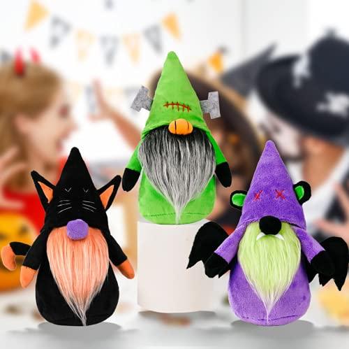Juego de 3 decoraciones hechas a mano para Halloween, gnomos suecos Tomte con gato Balck, murciélago, estante de elfo de felpa, figuras coleccionables, decoración de Navidad, 22 cm