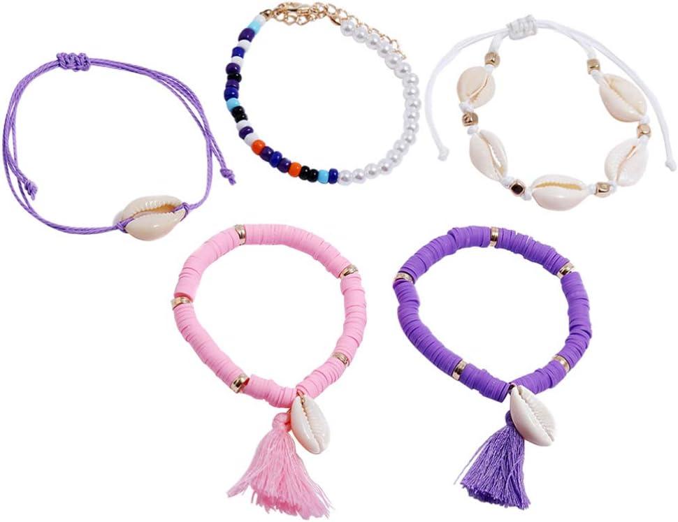 TOYANDONA Boho Braided Bracelets Beach Shell Anklet Pearl Beads Wrist Chains Polymer Clay Hand Rope Tassel Multilayer Bracelets for Women Girls