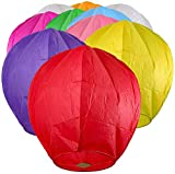 Chinese Lanterns 10-Pack Multi-Color, Sky High, Fully Assembled, Biodegradable, Sky Lanterns by Coral entertainments for Birthdays, Ceremonies, Weddings. Safe to use and Flame Retardant Paper